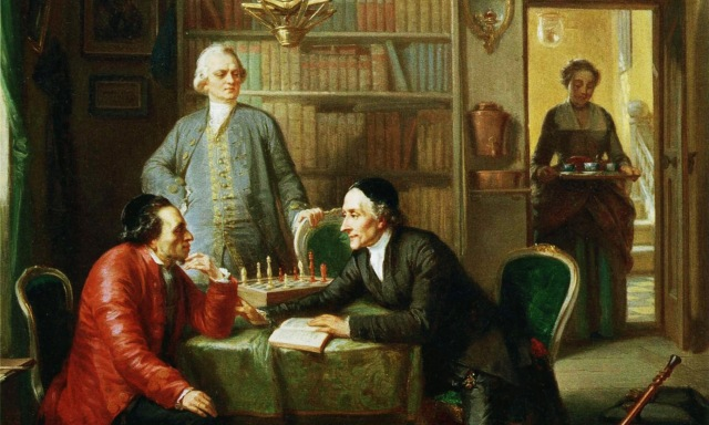 Lessing and Johann Kaspar Lavater as guests in the home of Moses Mendelssohn. Painting by Moritz Daniel Oppenheim 1856.